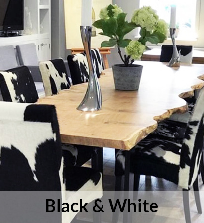 Black & White Cowhide Dining Chairs