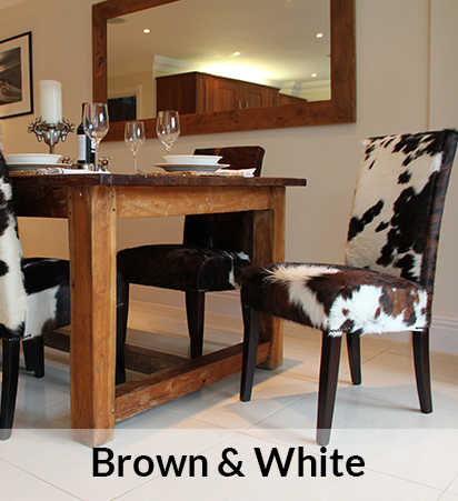 Brown & White Cowhide Dining Chairs