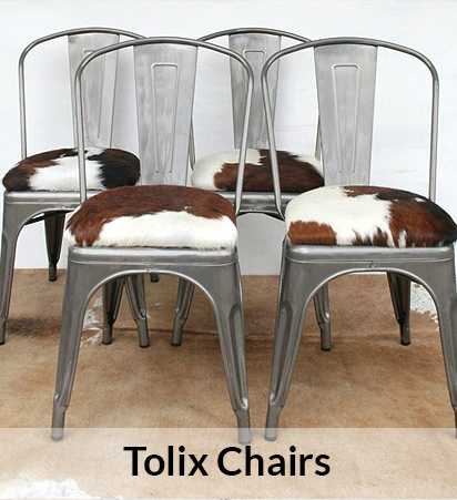 Tolix Cowhide Dining Chairs