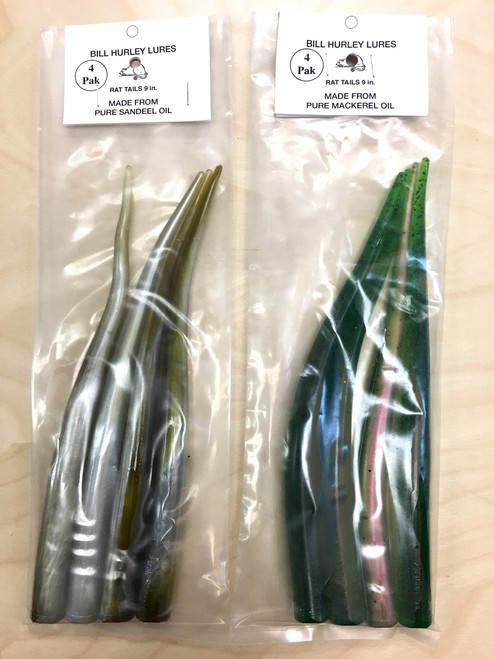 "Bill Hurley Cape Cod Sand Eels Tails 9"" 4PK (Rat Tails / Made from Pure Sand Eel Oil)"