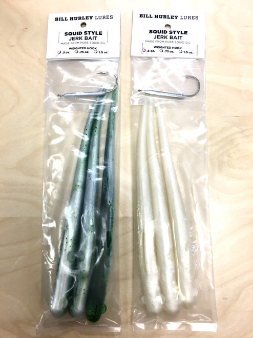 "Bill Hurley Squid Style Jerk Bait 9"" Tail 3PK with One Hook (Made from Pure Squid Oil)"