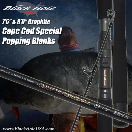 "Black Hole 7'6"", 8'0"" Cape Cod Special GRAPHITE Popping Rods"