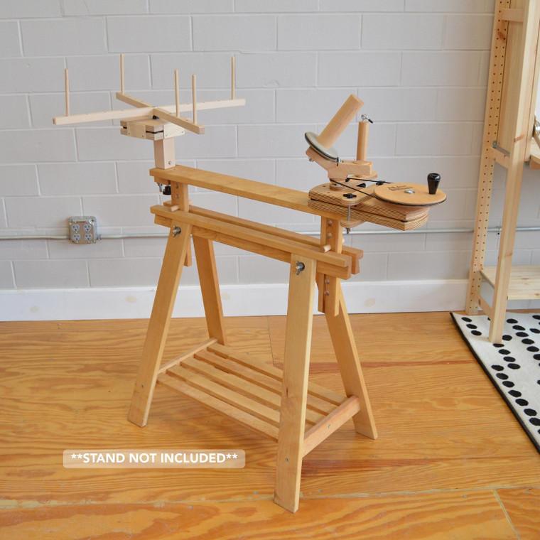 Fiber Artist Supply Winding Station includes Jumbo Yarn Ball Winder, Medium Yarn Swift & IKEA Finnvard Attachments