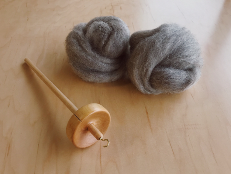 Beginning Spinning Kit with Drop Spindle and Coopworth Spinning Fiber