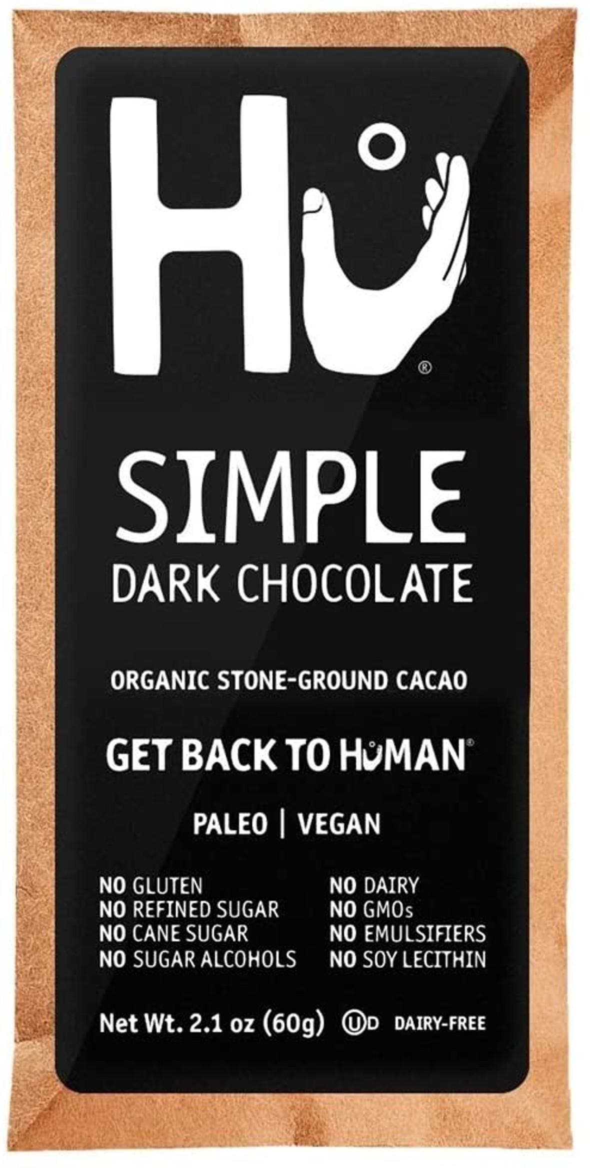 Hu Organic 70% Vegan Dark Chocolate Simple Bar, 2.1 Oz (24 Packs)