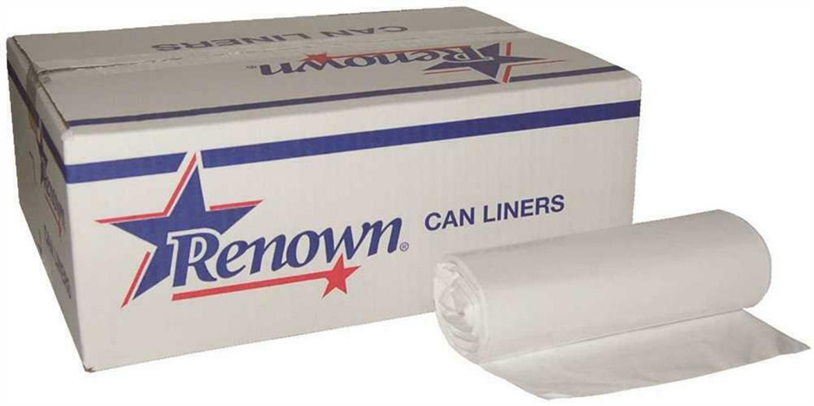"""Renown Can Liner Clear 24"""" x 32"""" 15 Gal .45Mil Low Density (500 Count)"""