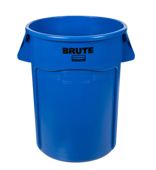 Rubbermaid® Brute® Vented Trash Receptacle, Round, 44 Gallon, Blue