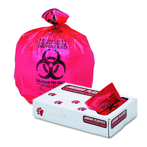 "Boardwalk Health Care ""Biohazard"" Printed Liners, Red"