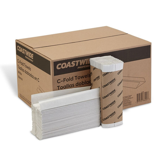 Coastwide Professional 1 ply C-fold Towels, White