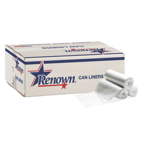 Renown Super Hexane/Linear Low Density Trash Can Liners, 45 Gallon, White