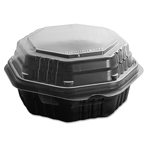 Dart OctaView Hinged-Lid Hot Food Containers, 31 oz, 9.55 x 9.1 x 3, Black/Clear