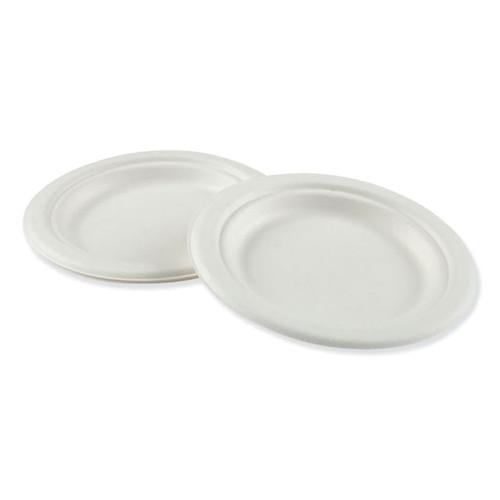 """Boardwalk Bagasse Molded Fiber Dinnerware Plate, White, 6"""" Diameter"""