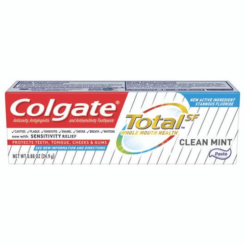 Colgate Total Toothpaste, Clean Mint Flavor, 0.88 Ounces, 24/cs