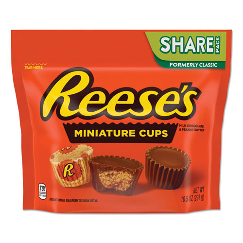 Reese's Peanut Butter Cups Miniatures Share Pack, Milk Chocolate, 10.5 Oz Bag, 3 Bags/pack
