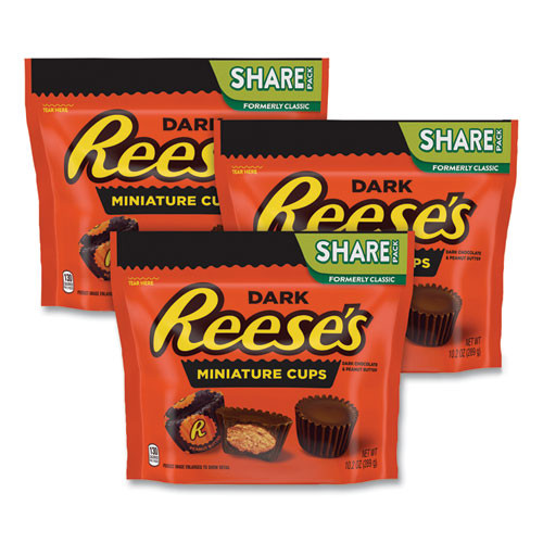 Reese's Peanut Butter Cups Miniatures Share Pack, Dark Chocolate, 10.2 Oz Bag, 3 Bags/pack