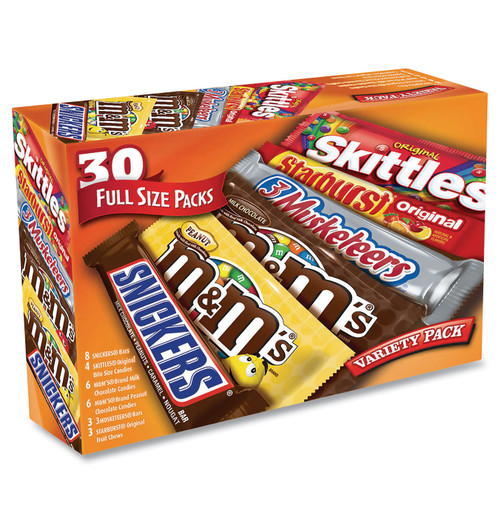 Mars Full-size Candy Bars Variety Pack, Assorted, 30/box