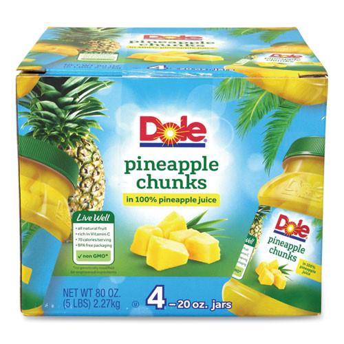Dole Pineapple Chunks In 100% Juice, 20 Oz Jar, 4 Jars/box