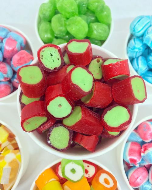 Vegan rhubarb rock green red handmade boiled sweet