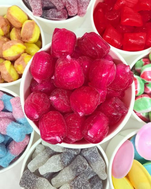 Vegan handmade boiled cherry fizz pink red sweet