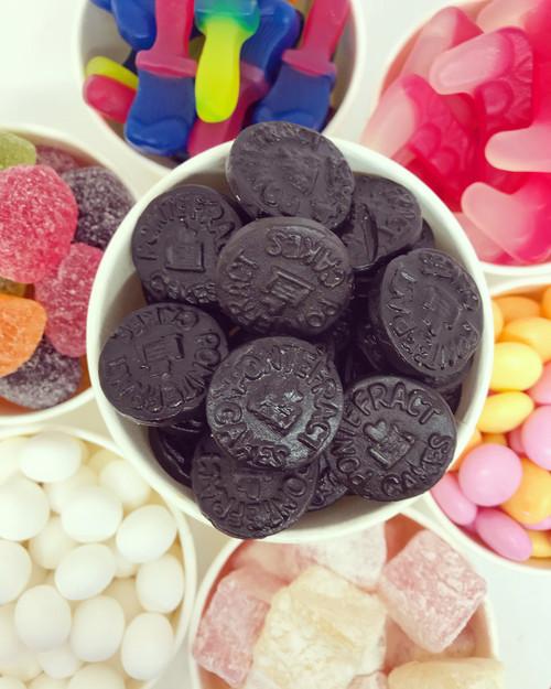Vegan pontefract cake black liquorice chewy soft haribo sweet