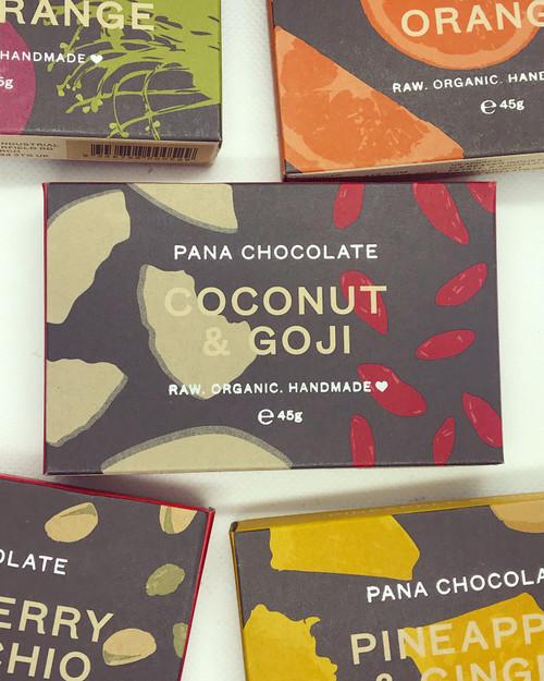 Coconut & Goji Pana Chocolate Raw Handmade Organic Vegan GF Sugar Free