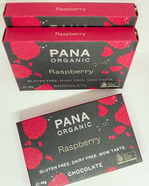 pana chocolate raspberry milk chocolate vegan dairy free gluten free soya free organic