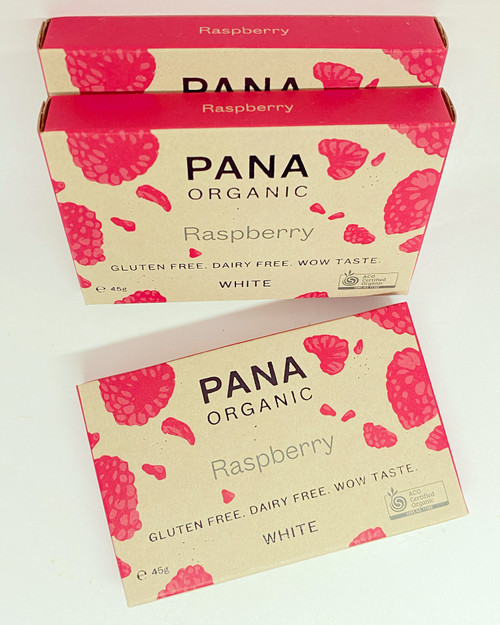 pana chocolate organic white chocolate raspberry raspberries fruit creamy vegan dairy free gluten free soya free sugar free