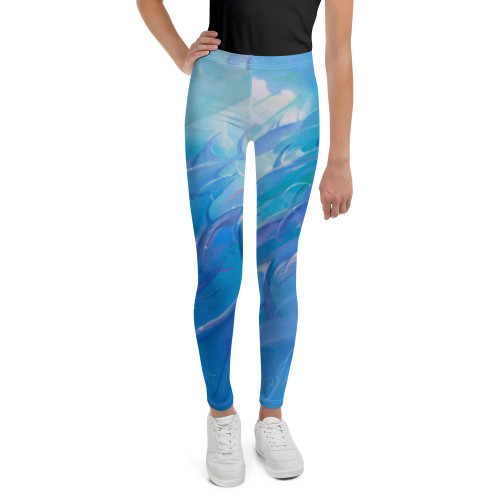 Blue Rush Pitre Style Wearable Art Youth Leggings