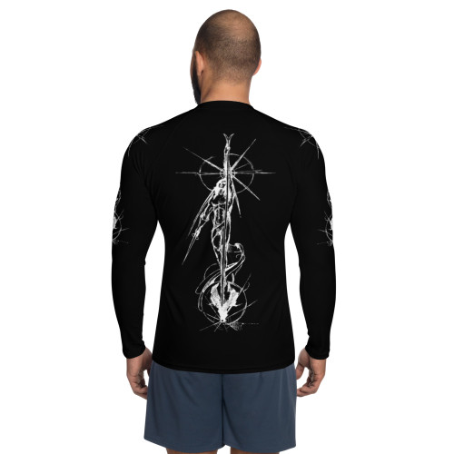 Tierra del Fuego Pitre Style Wearable Art Black Men's Rash Guard
