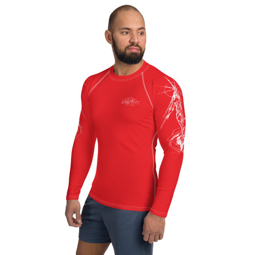 Tierra del Fuego Pitre Style Wearable Art Red Men's Rash Guard