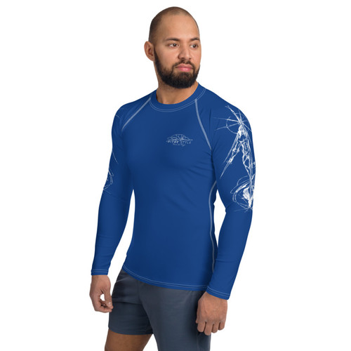 Tierra del Fuego Pitre Style Wearable Art Blue Men's Rash Guard