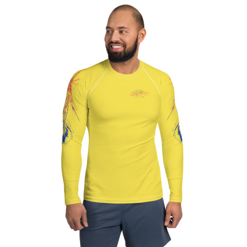 Tierra del Fuego Pitre Style Wearable Art Sunset Yellow Men's Rash Guard
