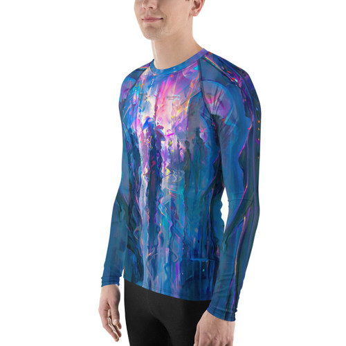 Night Street Pitre Style Wearable Art Men's Rash Guard by John Pitre Don't let sunburn, wind, sand, or other elements ruin your day! This smooth and versatile long-sleeve rash guard will protect you while you have fun doing sports. It is slim-fitted with flat ergonomic seams, and a bit longer than your casual tee for extra comfort and protection. • 82% polyester, 18% spandex • 38-40 UPF • Fitted design • Comfortable long body and sleeves • Flat seam and cover-stitch • Very soft four-way stretch fabric that stretches and recovers on the cross and lengthwise grains.