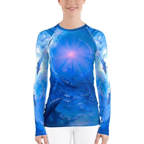 "Of Consciousness and Light Pitre Style Fine Fashion & Fantasy Art Women's Rash Guard. Presenting John Pitre's ""Of Consciousness and Light"" painting elegantly designed for Women's activewear. Don't be afraid to be your most active self in this smooth and versatile long-sleeve rash guard! It protects you from the sun, wind, and other elements while doing sports, and the slim fit, flat ergonomic seams, and the longer body gives extra comfort."