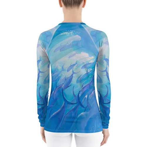 "Blue Rush Pitre Style Fine Fashion & Fantasy Art Women's Rash Guard. Presenting John Pitre's ""Blue Rush"" painting elegantly designed for Women's activewear. Don't be afraid to be your most active self in this smooth and versatile long-sleeve rash guard! It protects you from the sun, wind, and other elements while doing sports, and the slim fit, flat ergonomic seams, and the longer body gives extra comfort."
