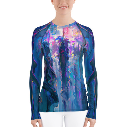 "Night Street Pitre Style Fine Fashion & Fantasy Art Women's Rash Guard. Presenting John Pitre's ""Night Street"" painting elegantly designed for Women's activewear. Don't be afraid to be your most active self in this smooth and versatile long-sleeve rash guard! It protects you from the sun, wind, and other elements while doing sports, and the slim fit, flat ergonomic seams, and the longer body gives extra comfort."