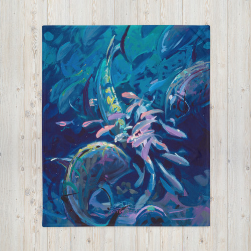 Reef Party Pitre Style Fine Fashion & Fantasy Art Throw Blanket by John Pitre. Do you feel that your home is missing an eye-catching, yet practical design element? Solve this problem with a soft silk touch throw blanket that's ideal for lounging on the couch during chilly evenings.A throw blanket can be a striking design element, a dear memento, or simply an amazing accessory for refreshing afternoon naps—that's why this custom-printed Throw Blanket is the perfect canvas for your wildest designs. The soft silk touch fabric yields prints in eye-popping colors, and the blanket is warm and cozy.