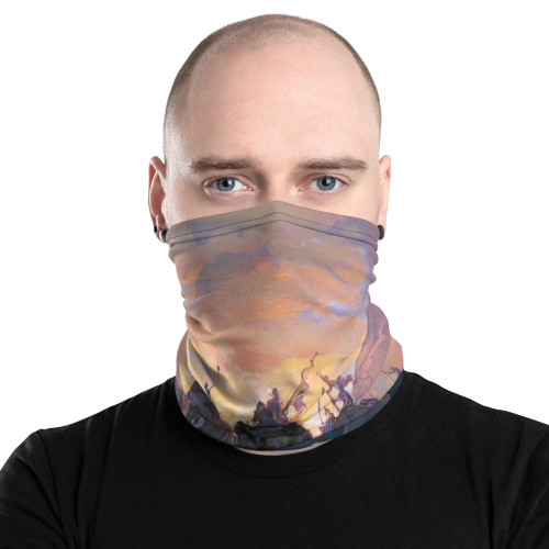 In the Company of Giants Pitre Style Fashion Fantasy Art Neck Gaiter. This neck gaiter is a versatile accessory that can be used as a face covering, headband, bandana, wristband, and neck warmer. Upgrade your accessory game and find a matching face shield for each of your outfits. • 95% polyester, 5% elastane (fabric composition may vary by 1%) • Fabric weight: 6.19 oz/yd² (210 g/m²) • Breathable fabric • Washable and reusable • Four-way stretch fabric that stretches and recovers on the cross and lengthwise grains • One size • Printed on one side, reverse side is left blank.