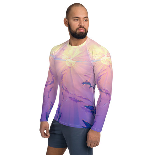 Rainbow Dolphins Pitre Style Wearable Art Men's Rash Guard