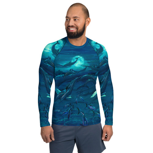 Pacific Moonrise Pitre Style Wearable Art Men's Rash Guard