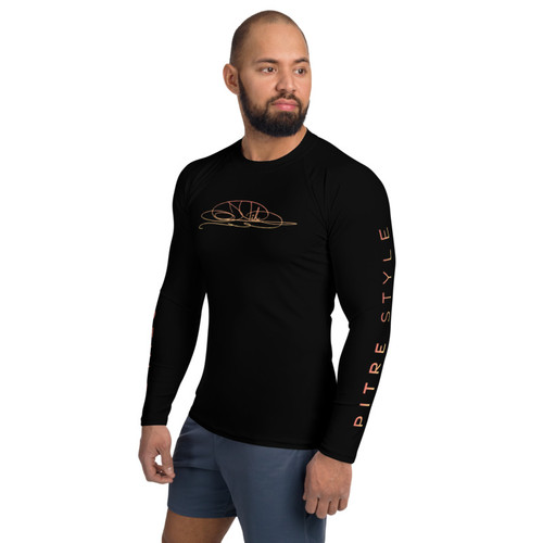 Pitre Style Minimalist Wearable Art Hawaiian Sunset Men's Rash Guard
