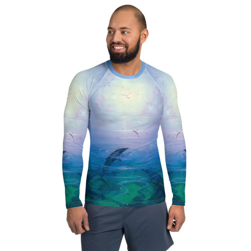 Dolphin Serenity Pitre Style Wearable Art Men's Rash Guard