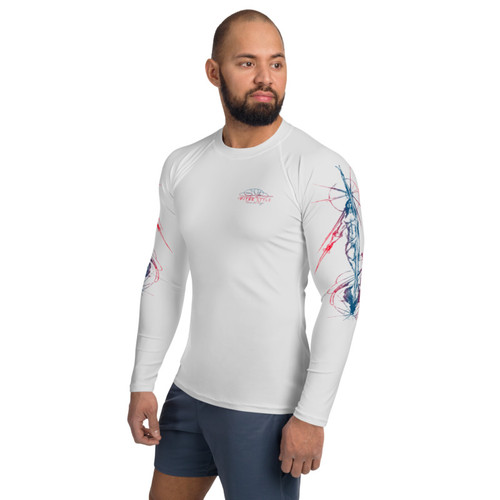 Tierra del Fuego Pitre Style Fashion Fantasy Art Fire and Ice Grey Men's Rash Guard. Don't let sunburn, wind, sand, or other elements ruin your day! This smooth and versatile long-sleeve rash guard will protect you while you have fun doing sports. It is slim-fitted with flat ergonomic seams, and a bit longer than your casual tee for extra comfort and protection. • 82% polyester, 18% spandex • 38-40 UPF • Fitted design • Comfortable long body and sleeves • Flat-seam and cover-stitch • Very soft four-way stretch fabric that stretches and recovers on the cross and lengthwise grains.