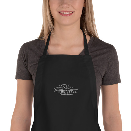 Plumeria White Pitre Style Embroidered Apron for Everyone