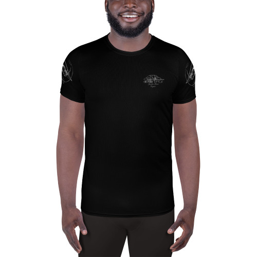 Firepower Pitre Style Fine Fashion & Fantasy Art Black Men's Athletic T-shirt. Firepower, a combination of two drawings by John Pitre - Tierra del Fuego (the Land of Fire) on the back of the shirt and Vanishing Point, on the sleeves. The shirt is designed to move with your body, a major reason for ensuring the sleeve drawings point forward. A t-shirt perfect for all kinds of workouts. Its moisture management and anti-microbial qualities are sure to keep athletes dry and comfortable even during the most vigorous of workouts. • 92% polyester, 8% spandex • Fabric weight: 4.42 oz/yd² (150 g/m²) • MaxDri moisture management & MicroBlok anti-microbial fabric • Very soft four-way stretch sports mesh fabric • Comfortable fit • Overlock and cover-stitch.
