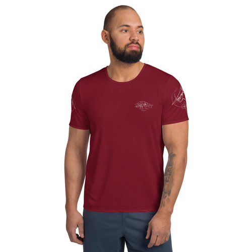 Firepower Pitre Style Fine Fashion & Fantasy Art Merlot Red Men's Athletic T-shirt. Firepower, a combination of two drawings by John Pitre - Tierra del Fuego (the Land of Fire) on the back of the shirt and Vanishing Point, on the sleeves. The shirt is designed to move with your body, a major reason for ensuring the sleeve drawings point forward. A t-shirt perfect for all kinds of workouts. Its moisture management and anti-microbial qualities are sure to keep athletes dry and comfortable even during the most vigorous of workouts. • 92% polyester, 8% spandex • Fabric weight: 4.42 oz/yd² (150 g/m²) • MaxDri moisture management & MicroBlok anti-microbial fabric • Very soft four-way stretch sports mesh fabric • Comfortable fit • Overlock and cover-stitch.