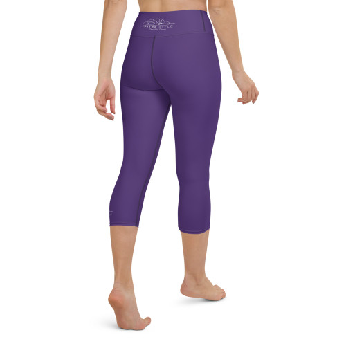 Pitre Style Fine Fashion Signature Purple Comfort-band Yoga Capri Leggings. These yoga capri leggings with a high, comfort elastic waistband are the perfect choice for yoga, the gym, or simply a relaxing evening at home. • 82% polyester, 18% spandex • Mid-calf length • Very soft four-way stretch fabric • Comfortable high waistband • Flat seam and cover-stitch.