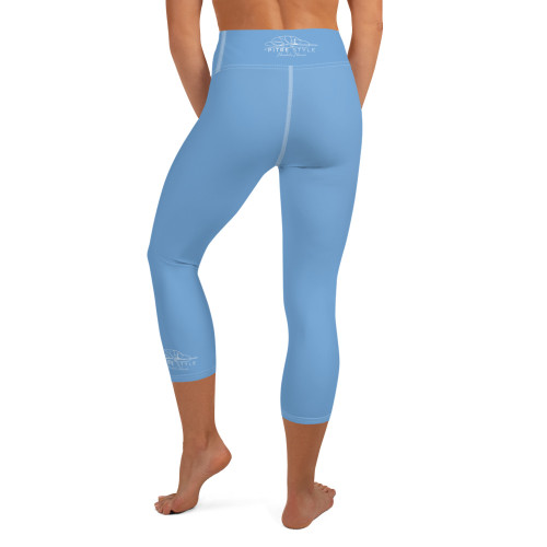 Pitre Style Fine Fashion Signature Blue Comfort-band Yoga Capri Leggings. These yoga capri leggings with a high, comfort elastic waistband are the perfect choice for yoga, the gym, or simply a relaxing evening at home. • 82% polyester, 18% spandex • Mid-calf length • Very soft four-way stretch fabric • Comfortable high waistband • Flat seam and cover-stitch.