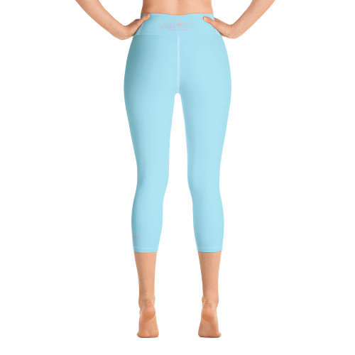 Pitre Style Fine Fashion Signature Calm Blue Comfort-band Yoga Capri Leggings. These yoga capri leggings with a high, comfort elastic waistband are the perfect choice for yoga, the gym, or simply a relaxing evening at home. • 82% polyester, 18% spandex • Mid-calf length • Very soft four-way stretch fabric • Comfortable high waistband • Flat seam and cover-stitch.