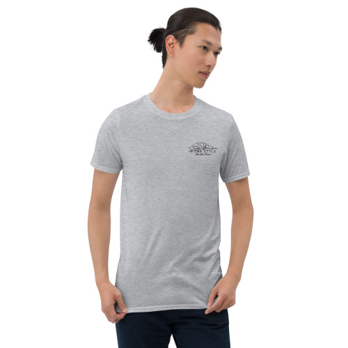 Pitre Style Signature Black Embroidered Short-Sleeve T-Shirt for Men and Women. You've now found the staple t-shirt of your wardrobe. It's made of a thicker, heavier cotton, but it's still soft and comfy. And the double stitching on the neckline and sleeves add more durability to what is sure to be a favorite! • 100% ring-spun cotton • Sport Grey is 90% ring-spun cotton, 10% polyester • Dark Heather is 65% polyester, 35% cotton • 4.5 oz/y² (153 g/m²) • Pre-shrunk • Shoulder-to-shoulder taping • Quarter-turned to avoid crease down the center.